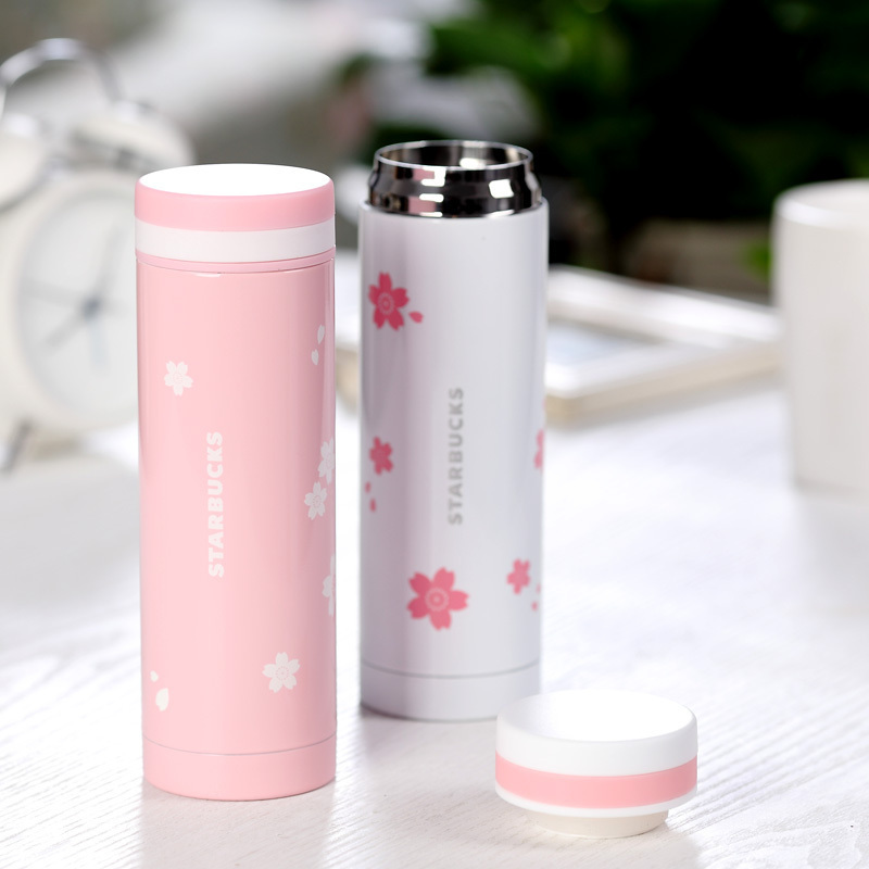 Lucky Cat high quality Stainless steel 300ml cherry blossom vacuum coffee tumbler cup thermos mug retails