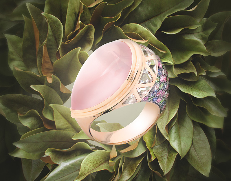 Big ring with a pink stone