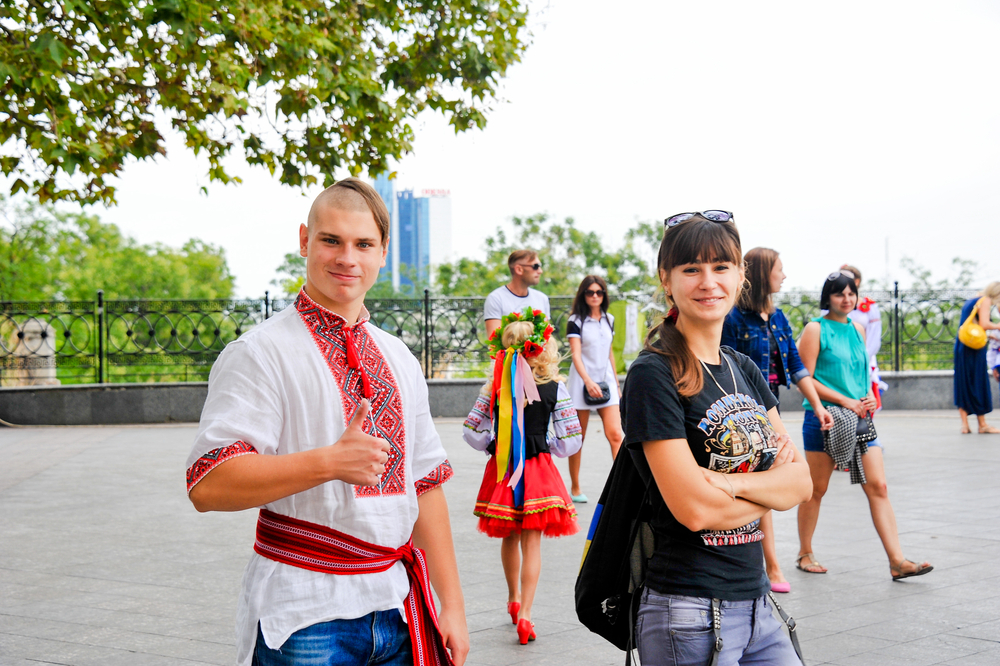 young people in Ukrainian traditional clothes