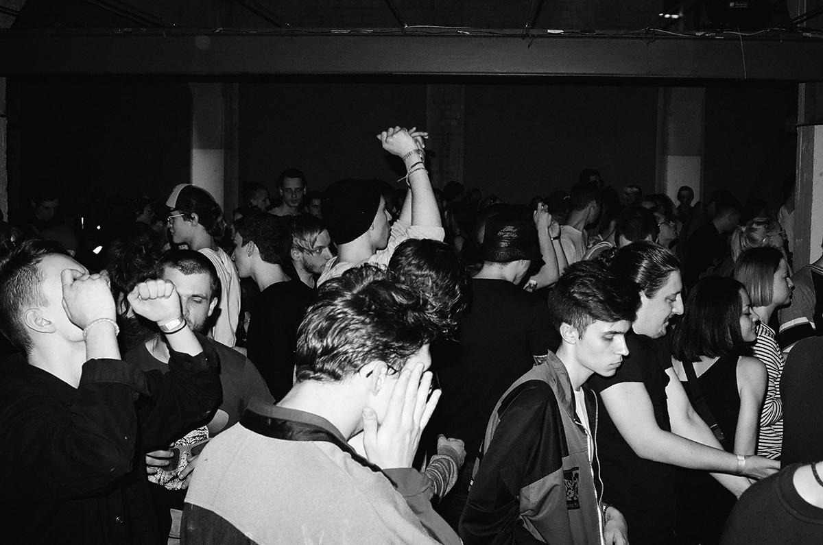 Crowd raving in a club