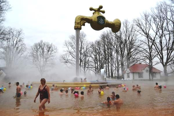 people in thermal spa