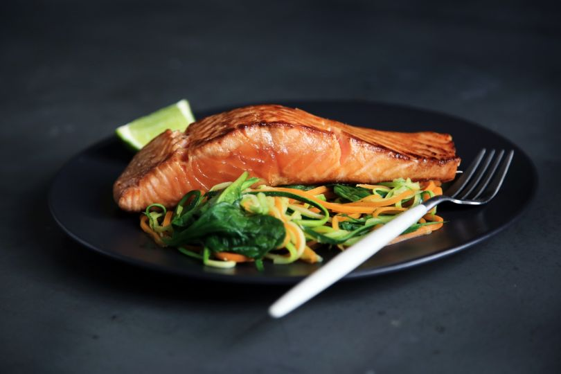 Fried salmon dish