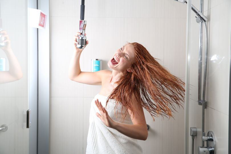 Girl singing in the shower