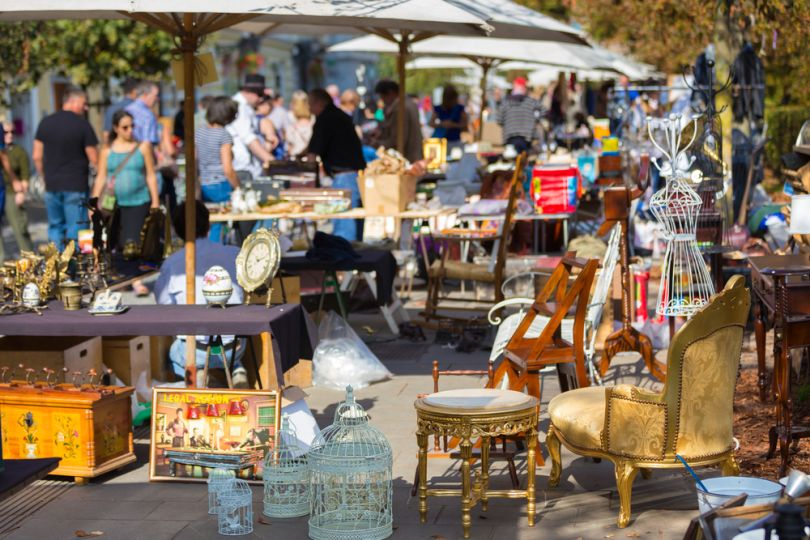 Flea market with antiques