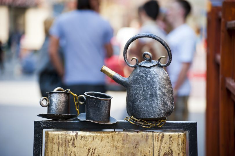 Coffee, kettle and cups monument in Lviv