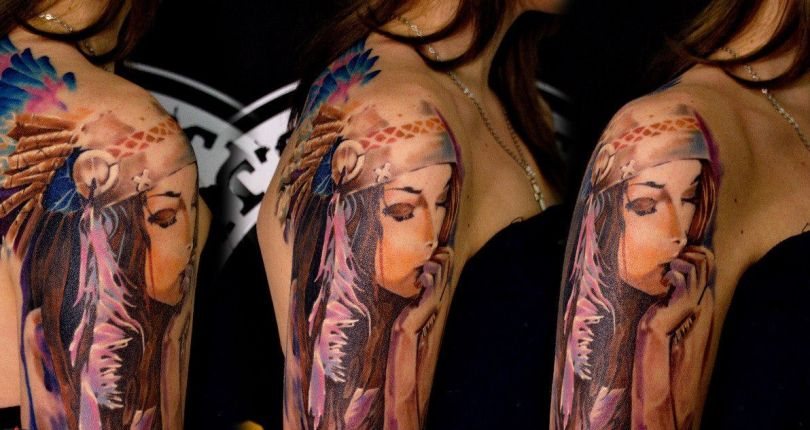 three views of tattooed hand sleeve with picture of indian girl