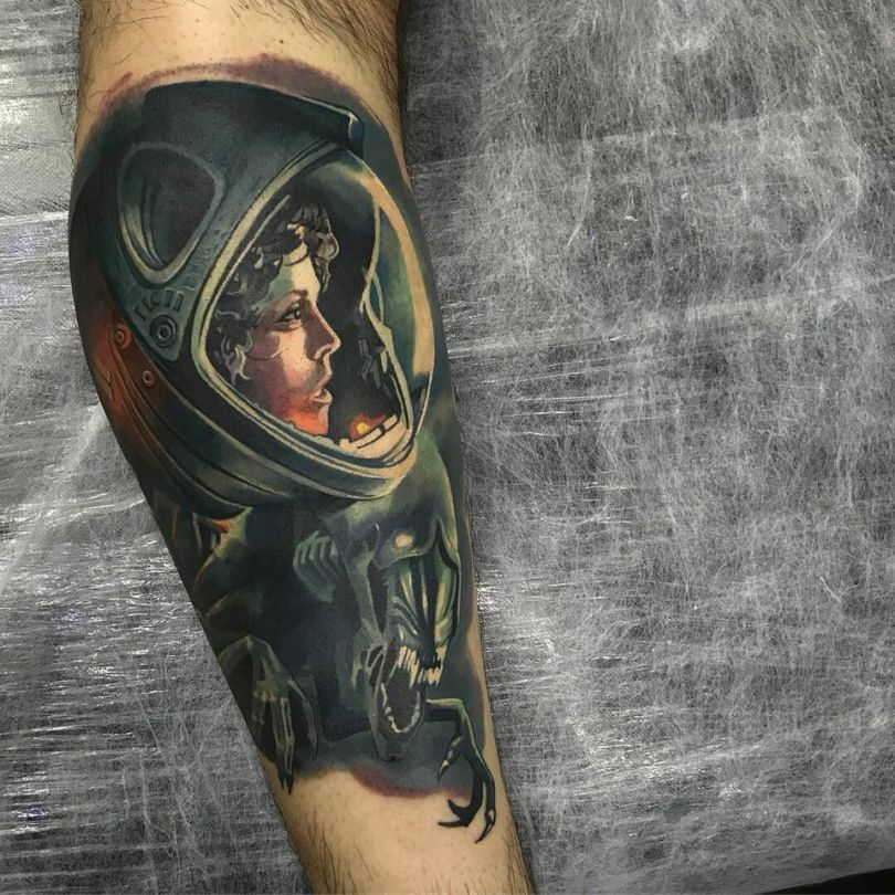 tattoo sleeve with alien movie character