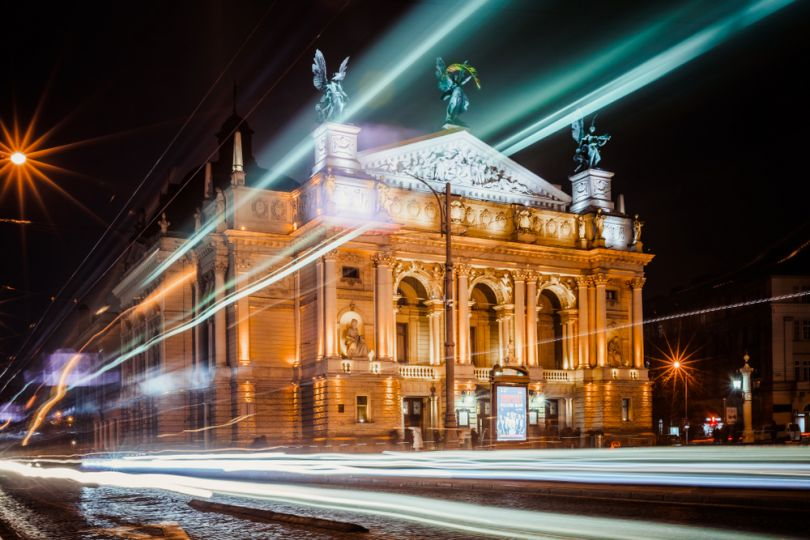 Lviv Opera House at night