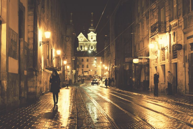 Lviv streets at night