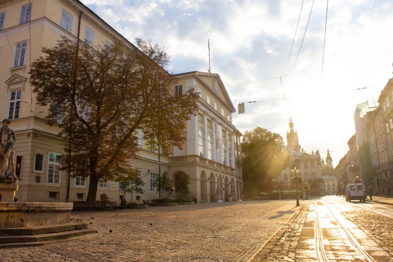 early morning Lviv street