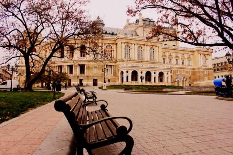 Odesa Opera house in autumn