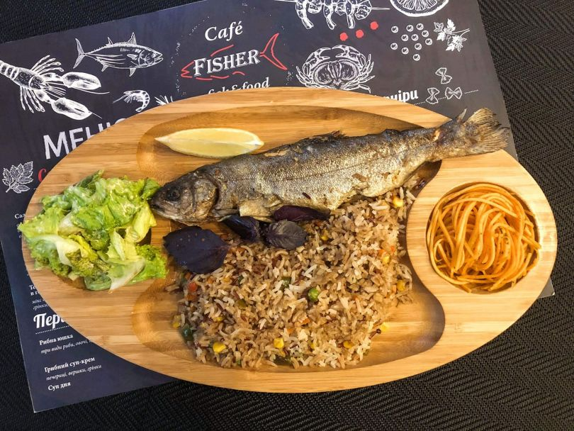 menu and plate with fish