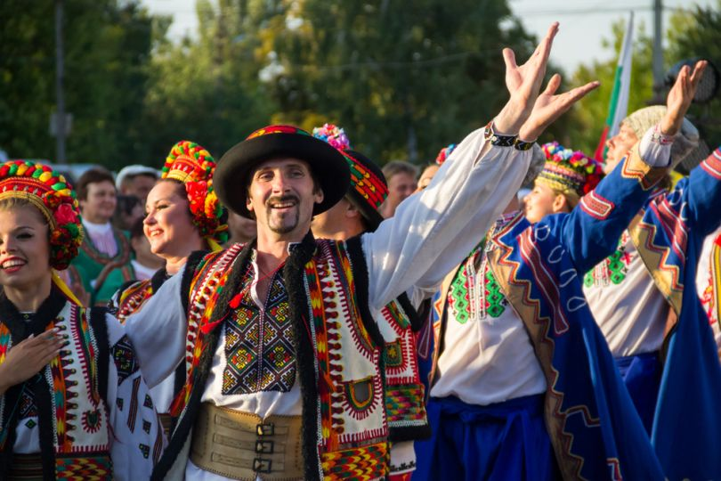 people in national ukrainian clothes