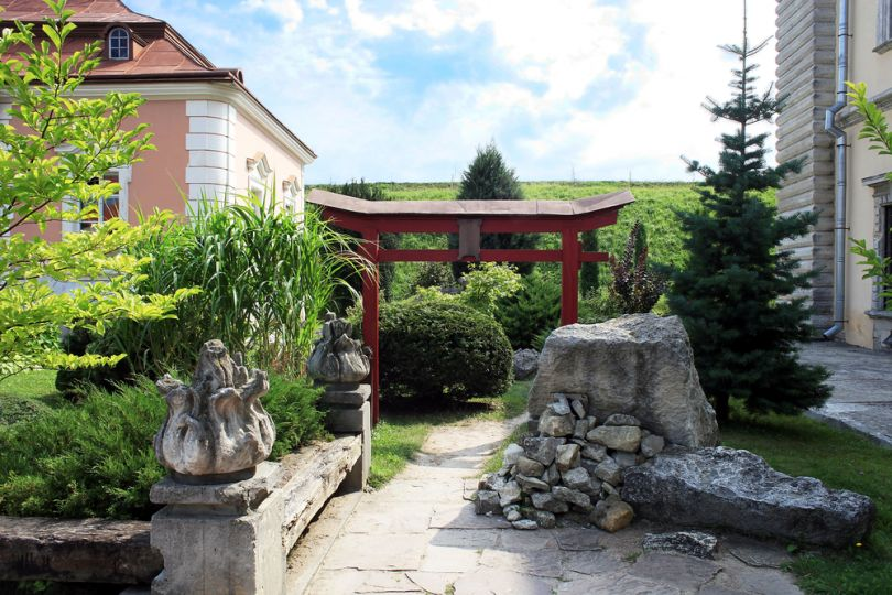 yard of chinese castle in zolochiv castle