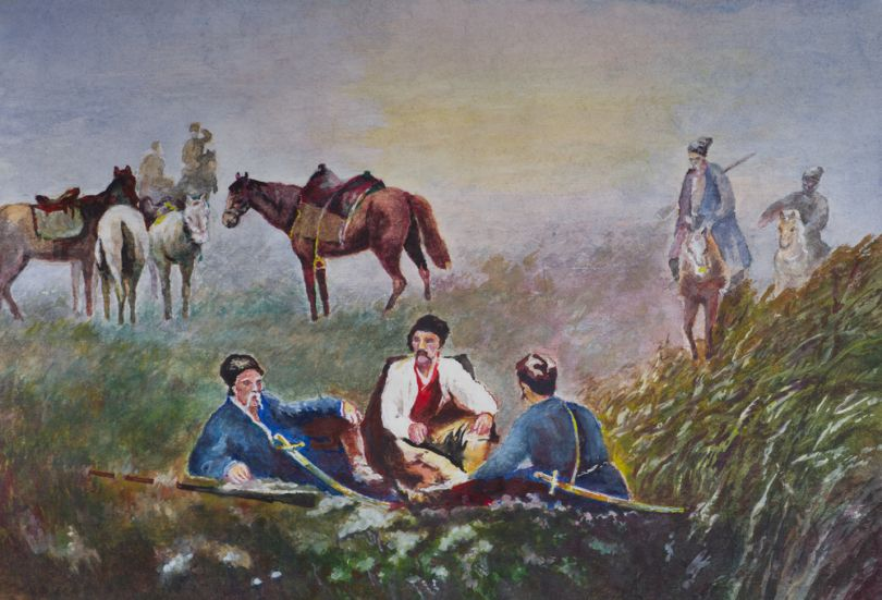 painting of cossacks having rest in a field