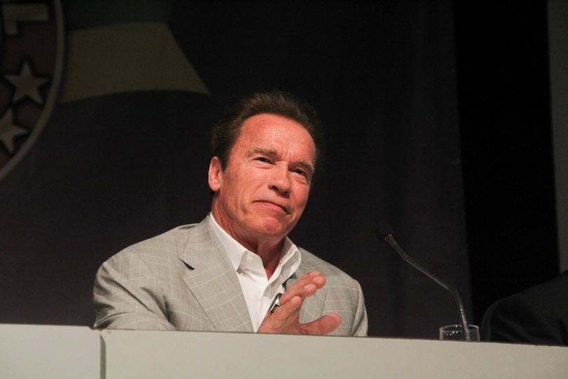 Arnold Schwarzenegger on a press conference