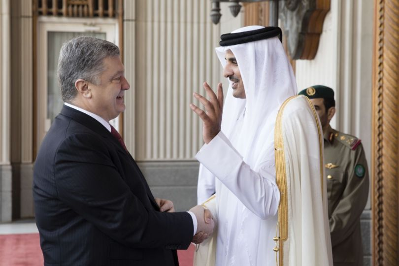 Presidents of Qatar and Ukraine on a meeting