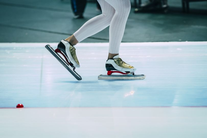 Closeup of ice skates