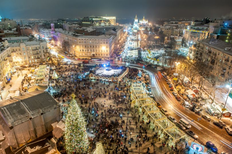 center of kyiv at new year