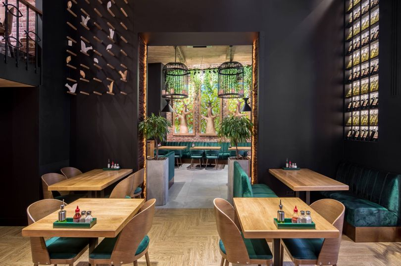 stylish restaurant in green colors