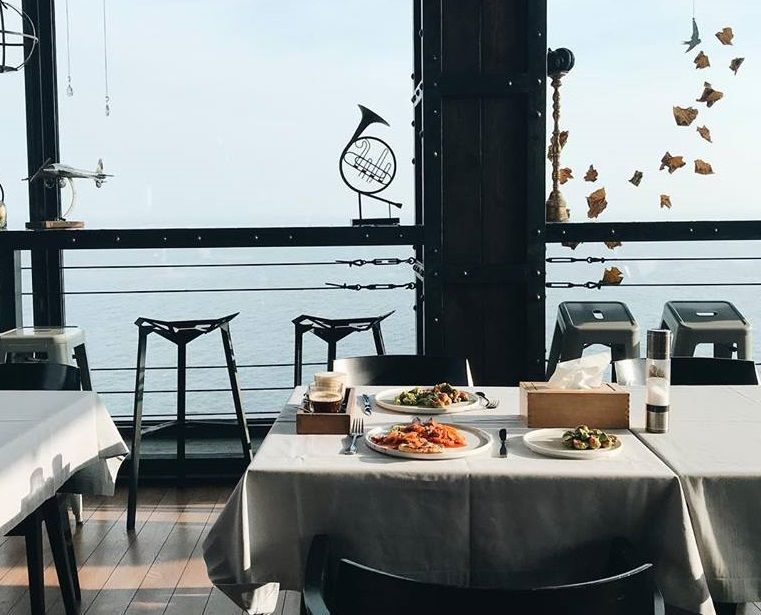 restaurant terrace with seaview
