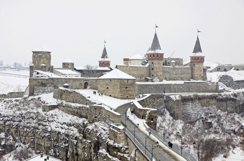 Kamianets Podilskyi castle in winter