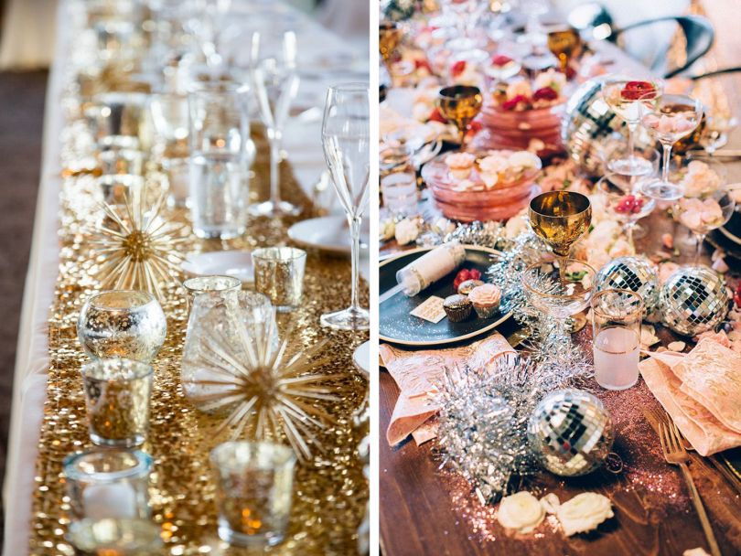 Modern chic New Year's Eve table decor