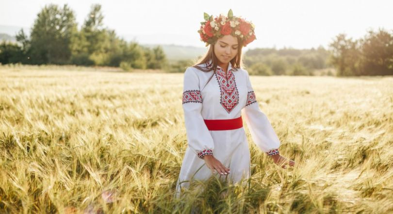 Girl dressed in a traditional Ukrainian shirt