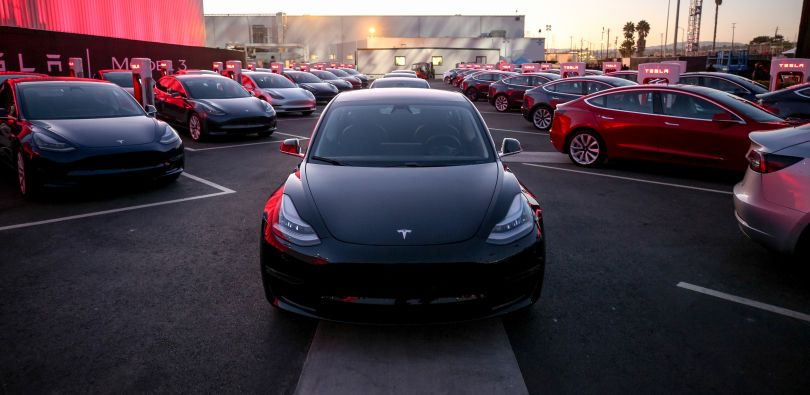 Tesla Model 3 on the parking lot