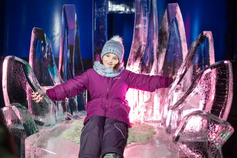 girl on ice sculpture