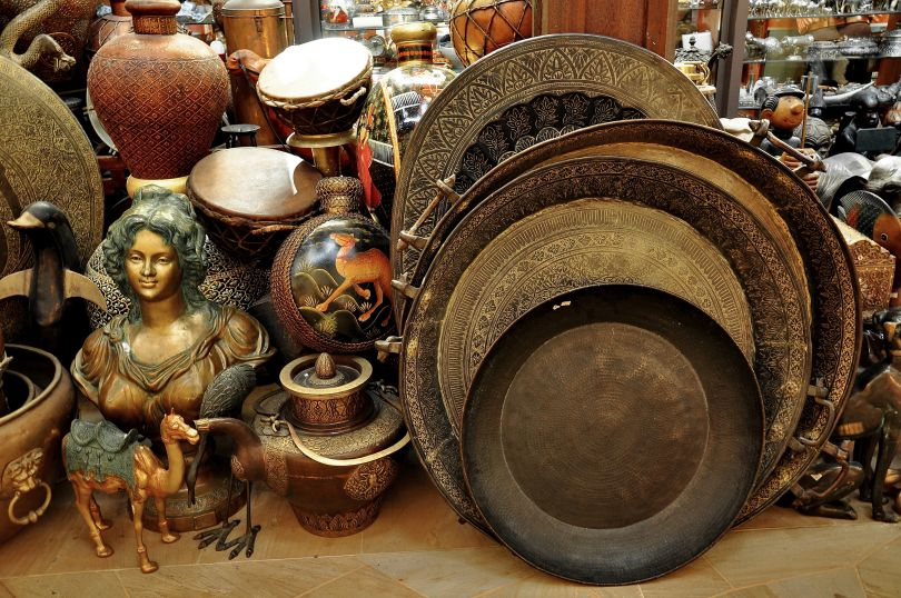Antique things on the shelf