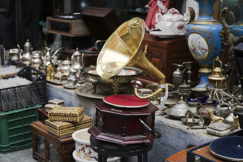 Old gramophone on the ground