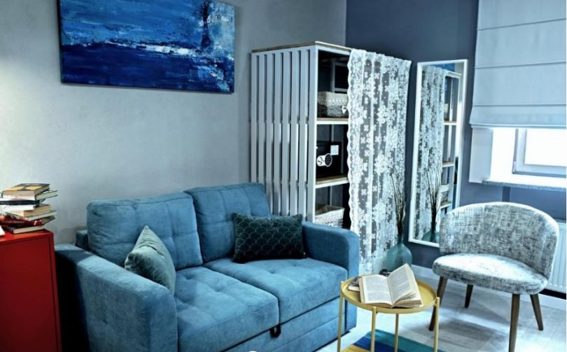 stylish hotel room in blue colors