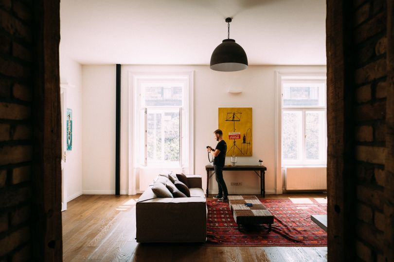 Man in a cozy apartment