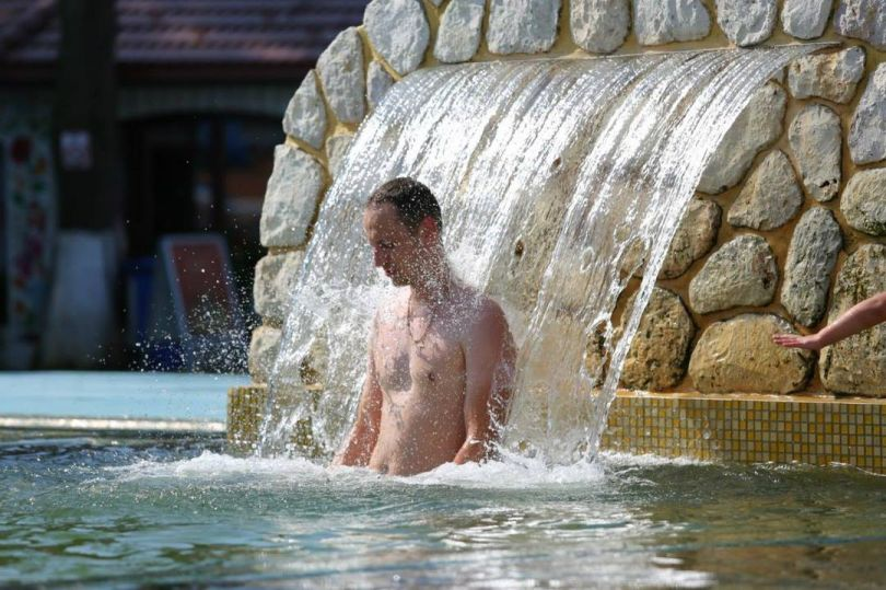 Man in a thermal pool