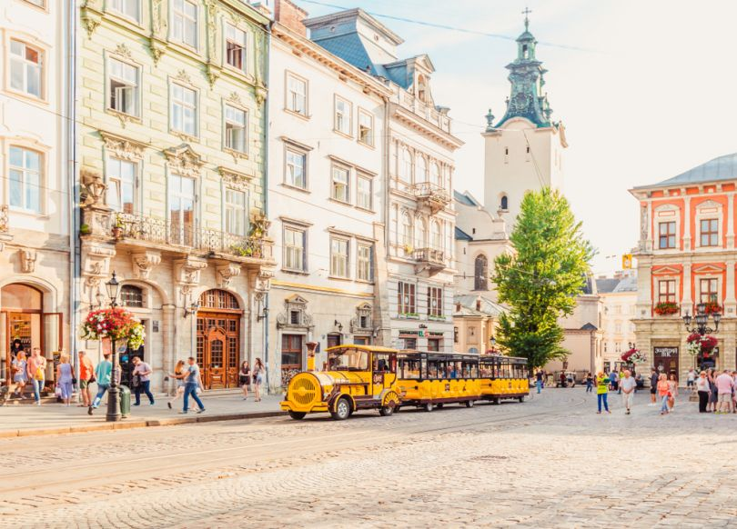 sightseeing bus in the center of lviv