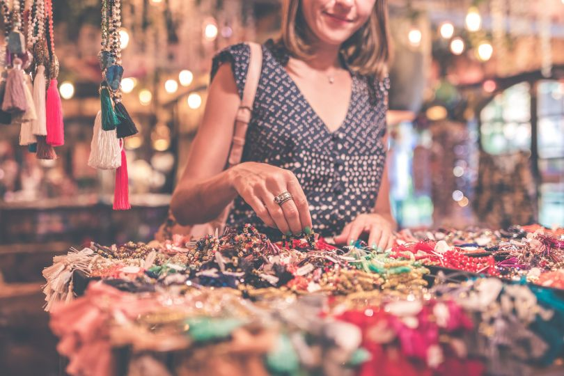 Woman looking at accessories