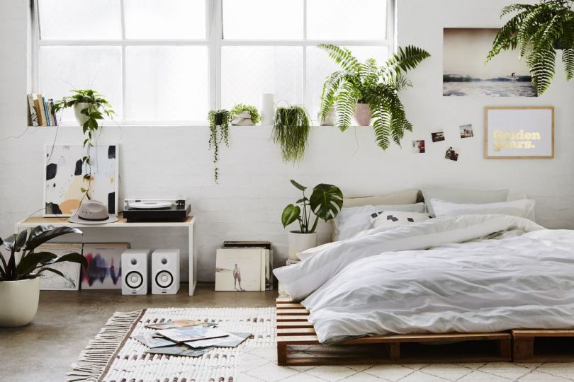Minimalistic bedroom with plants