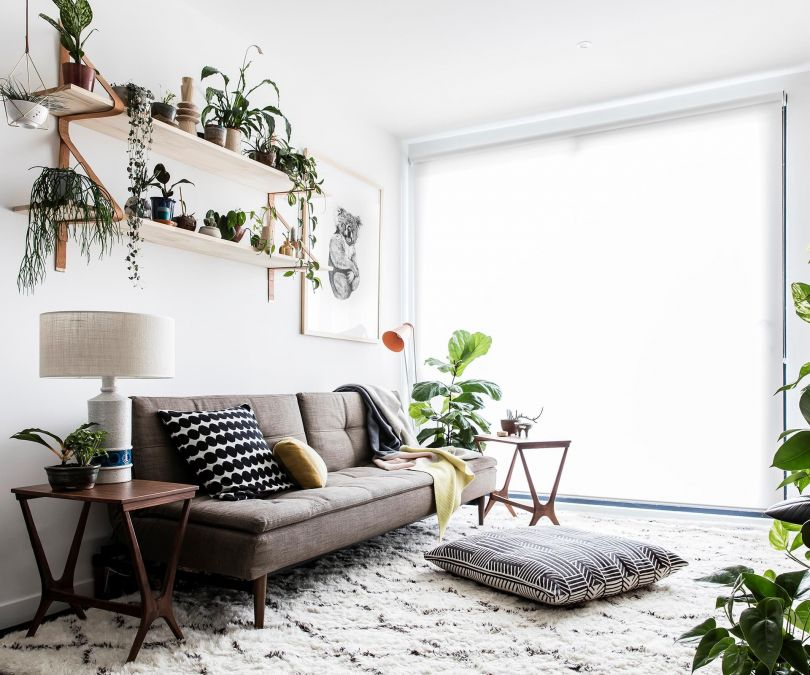 Monochrome apartment with plants