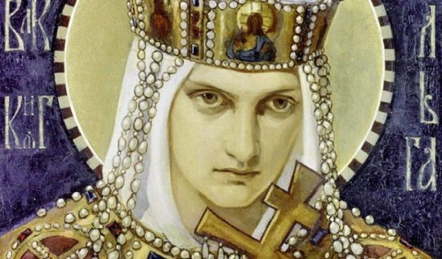icon of saint olga with holy cross